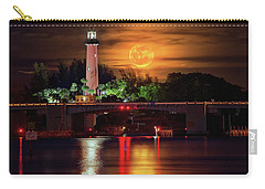 Burning Moon Rising Over Jupiter Lighthouse Carry-all Pouch by Justin Kelefas