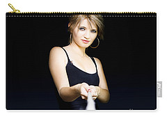 Carry-all Pouch featuring the photograph Business Person Pulling Rope In Tug Of War Concept by Jorgo Photography - Wall Art Gallery