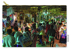 Carry-all Pouch featuring the photograph Busy Chennai India Flower Market by Mike Reid