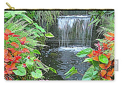 Carry-all Pouch featuring the photograph Butchart Gardens Waterfall by Wendy McKennon