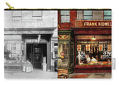 Carry-all Pouch featuring the photograph Butcher - Meat Priced Right 1916 - Side By Side by Mike Savad