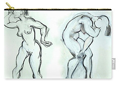 Carry-all Pouch featuring the mixed media Butoh Dancers - Nudes by Carolyn Weltman