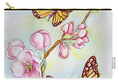 Butterflies And Apple Blossoms Carry-all Pouch