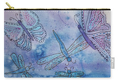 Carry-all Pouch featuring the painting Butterflies And Dragonflies by Ellen Levinson