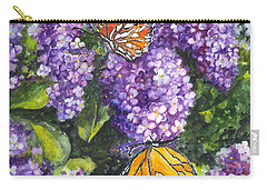 Butterflies And Lilacs Carry-all Pouch by Carol Wisniewski