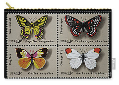 Butterflies Postage Stamp Print Carry-all Pouch by Andy Prendy