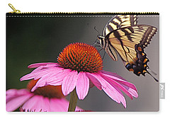 Carry-all Pouch featuring the photograph Butterfly And Coneflower by Byron Varvarigos