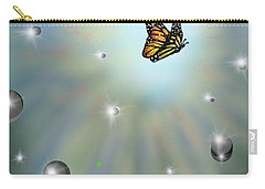 Carry-all Pouch featuring the digital art Butterfly Bubbles by Darren Cannell