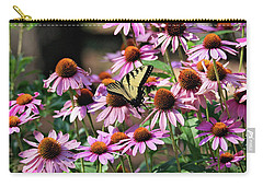 Carry-all Pouch featuring the photograph Butterfly On Coneflowers by Trina Ansel