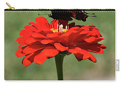Butterfly On Red Zinnia Carry-all Pouch
