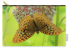 Butterfly On Wild Flower Carry-all Pouch by Henri Irizarri