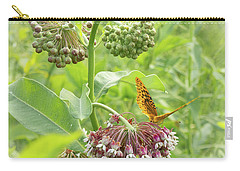 Butterfly On Wild Flowers Carry-all Pouch by Henri Irizarri