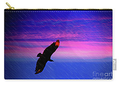 Carry-all Pouch featuring the photograph Buzzard In The Rain by Al Bourassa