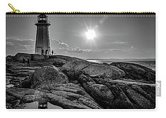 Bw Of Iconic Lighthouse At Peggys Cove  Carry-all Pouch by Ken Morris