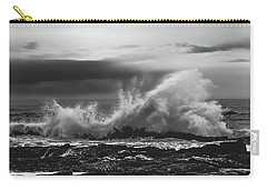 Bw Waves Crashing On Tsitsikamma South Africa With Clouds Carry-all Pouch