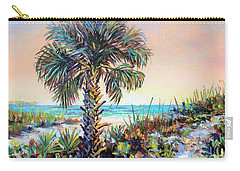 Cabbage Palm On Siesta Key Beach Carry-all Pouch by Lou Ann Bagnall