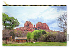 Carry-all Pouch featuring the photograph Cabin At Cathedral Rock Panorama by James Eddy