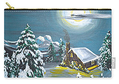 Carry-all Pouch featuring the painting Cabin In The Woods by Donna Blossom