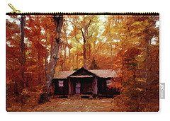 Carry-all Pouch featuring the painting Cabin In The Woods P D P by David Dehner