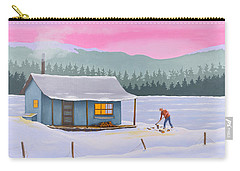 Cabin On A Frozen Lake Carry-all Pouch