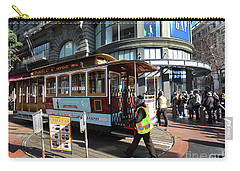 Carry-all Pouch featuring the photograph Cable Car At Union Square by Steven Spak