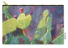 Prickly Pear Cactus Against Fence Carry-all Pouch