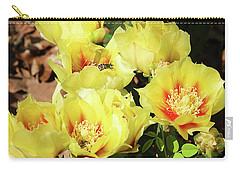 Carry-all Pouch featuring the photograph Cactus Flowers And Friend by Sheila Brown
