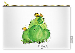 Cactus In The Yellow Flower Watercolor Painting By Kmcelwaine Carry-all Pouch