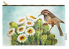 Carry-all Pouch featuring the painting Cactus Wren And Saguaro by Marilyn Smith