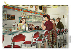 Carry-all Pouch featuring the photograph Cafe - The Local Hangout 1941 by Mike Savad
