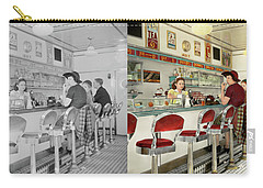 Carry-all Pouch featuring the photograph Cafe - The Local Hangout 1941 - Side By Side by Mike Savad