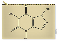 Carry-all Pouch featuring the digital art Caffeine Molecular Structure Vintage by Nikki Marie Smith