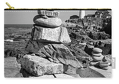 Carry-all Pouch featuring the photograph Cairn And Lighthouse  -56052-bw by John Bald