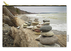 Carry-all Pouch featuring the photograph Cairn On The Beach by Kimberly Mackowski