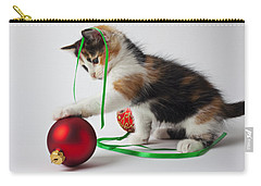 Calico Kitten And Christmas Ornaments Carry-all Pouch