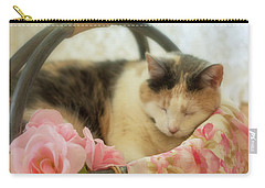 Calico Kitty In A Basket With Pink Roses Carry-all Pouch
