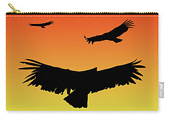 California Condors In Flight Silhouette At Sunset Carry-all Pouch