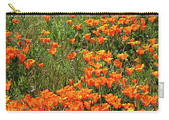 Carry-all Pouch featuring the mixed media California Poppies- Art By Linda Woods by Linda Woods