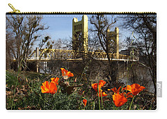 California Poppies With The Slightly Photographically Blurred Sacramento Tower Bridge In The Back Carry-all Pouch