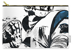 Carry-all Pouch featuring the mixed media Cam Newton Carolina Panthers Pixel Art 3 by Joe Hamilton