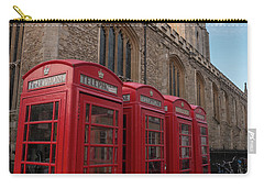 Cambridge Phone Boxes Carry-all Pouch by David Warrington