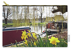 Carry-all Pouch featuring the photograph Cambridge Riverbank In Spring by Gill Billington