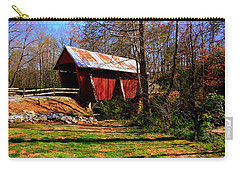 Carry-all Pouch featuring the photograph Campbell's Covered Bridge Est. 1909 by Lisa Wooten