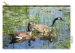 Canada Geese Family On Lily Pond Carry-all Pouch