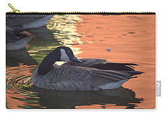Canadian Goose On Sunset Reflection Pond Carry-all Pouch by Lori Seaman