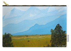 Canadian Rockies In The Distance Beyond The Farmed Flatlands Carry-all Pouch