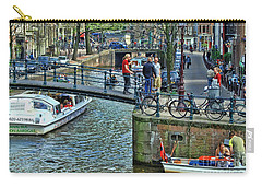 Carry-all Pouch featuring the photograph Amsterdam Canal Scene 1 by Allen Beatty