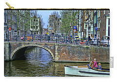Carry-all Pouch featuring the photograph Amsterdam Canal Scene 3 by Allen Beatty