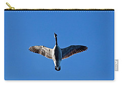 Carry-all Pouch featuring the photograph Candian Goose In Flight 1648 by Michael Peychich