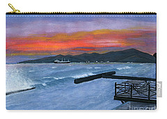Carry-all Pouch featuring the painting Candidasa Sunset Bali Indonesia by Melly Terpening